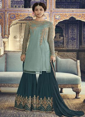 Light-sea-green embroidered net sharara suits