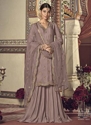 Mauve embroidered georgette sharara suits