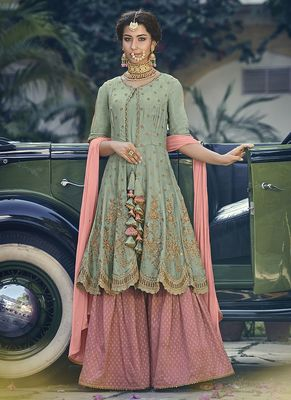 Olive embroidered georgette sharara suits