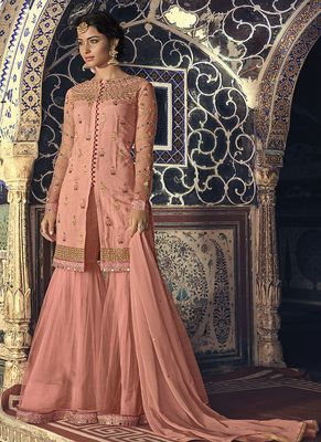 Peach embroidered net sharara suits