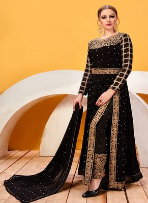 Black Embroidered Georgette Salwar With Dupatta