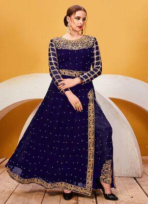 Blue embroidered georgette salwar with dupatta