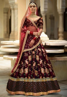 Glowing Maroon Embroidered Bridal Lehenga Choli For Wedding
