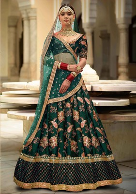 Glowing Green Embroidered Designer Lehenga Choli for Wedding