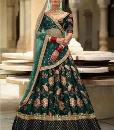 Glowing Green Embroidered Designer Lehenga Choli For Wedding