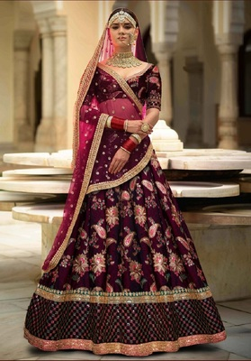 Glowing Purple Embroidered Designer Lehenga Choli For Wedding