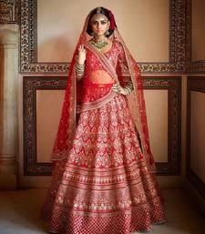 Gleaming Red Colored Embroidered Designer Lehenga Choli for Wedding