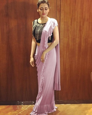 Light pink plain georgette saree with blouse