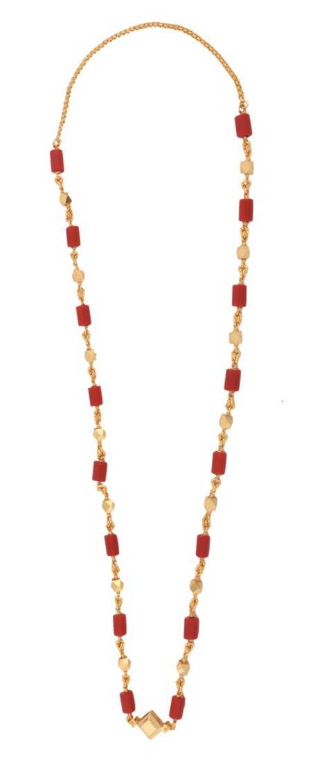 Buy Traditional 22k Gold Plated Coral Mala Chain 31 5 Quot Online