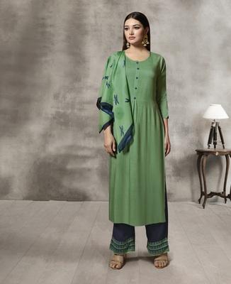 Partywear Green Rayon Printed Stitched Kurti
