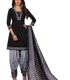 Black & Grey Printed Women's Unstitched Salwar Suits dress material with Dupatta