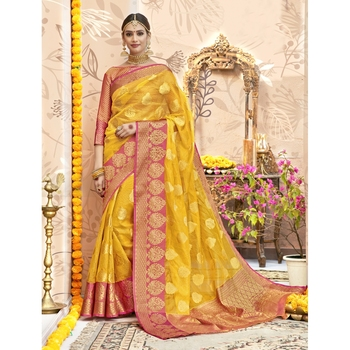 Yellow woven tissue saree with blouse
