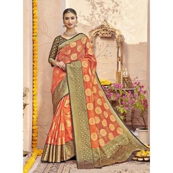 Orange woven tissue saree with blouse