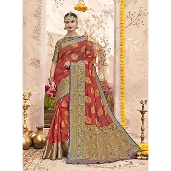 Red woven tissue saree with blouse