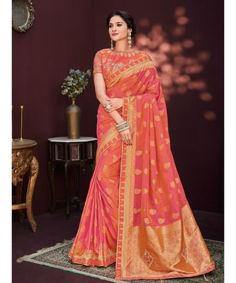 red embroidered banarasi silk saree with blouse