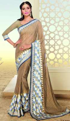 Brown printed brasso saree with blouse