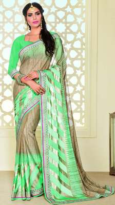Golden printed brasso saree with blouse