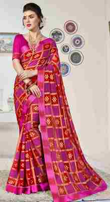 Pink printed brasso saree with blouse