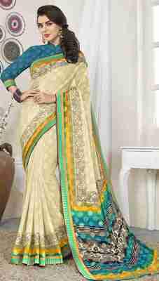 Cream printed brasso saree with blouse
