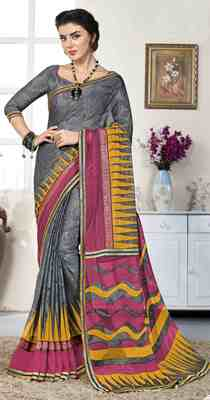 Grey printed brasso saree with blouse