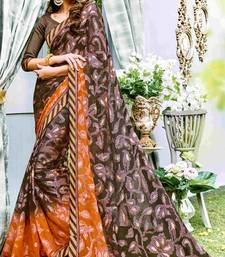 Multicolor printed brasso saree with blouse