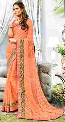 Peach printed brasso saree with blouse