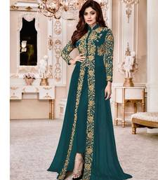 Teal embroidered faux georgette salwar with dupatta