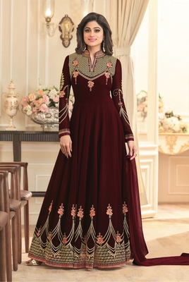 Brown Embroidered Faux Georgette Salwar With Dupatta