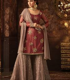 Maroon embroidered net salwar with dupatta