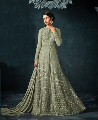 Mehendi Embroidered Net Salwar With Dupatta