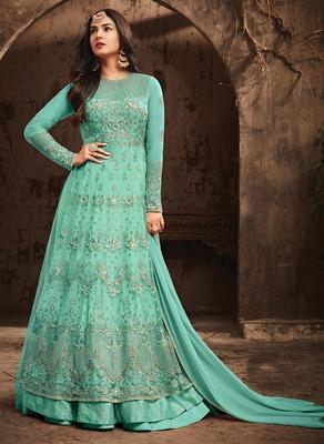 Sky-Blue Embroidered Net Salwar With Dupatta