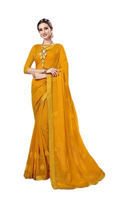 Yellow embroidered chiffon saree with blouse