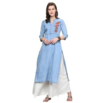Sky-blue embroidered denim kurti