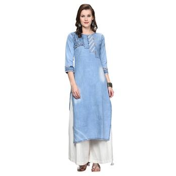Sky-blue embroidered denim kurti