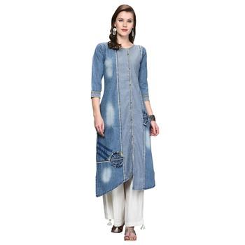 Light-blue embroidered denim kurti