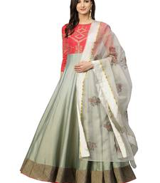Pink & Green Embroidered Anarkali with Dupatta