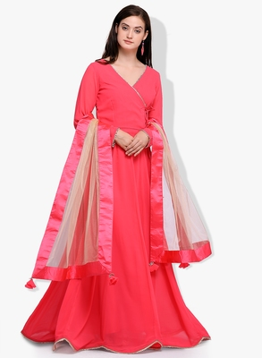 Pink Georgette Embroidered Anarkali Suit Set