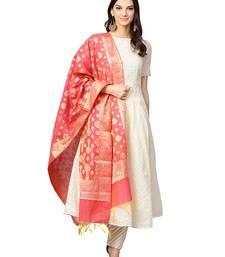 Cream Chanderi Cotton Self Design Checks Anarkali Suit Set