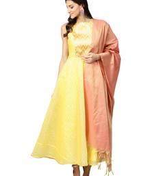 Yellow Chaderi Cotton Self Design Checks Anarkali Suit Set
