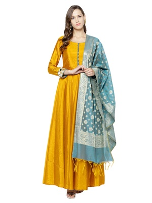 Mustard Art Silk Embroidered Anarkali Suit Set