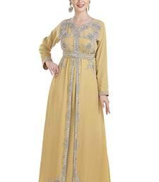 Gold Georgette Embroidered Zari Work Islamic Kaftans