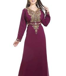 MAGENTA georgette embroidered zari work islamic kaftans
