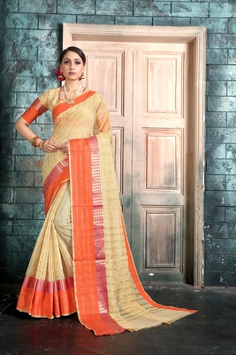 Beige woven manipuri art silk saree with blouse
