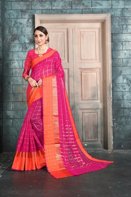 Pink woven manipuri art silk saree with blouse