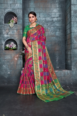 Pink woven banarasi cotton saree with blouse