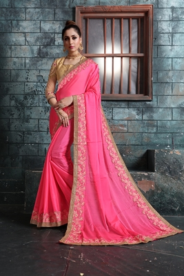 Baby pink embroidered georgette saree with blouse