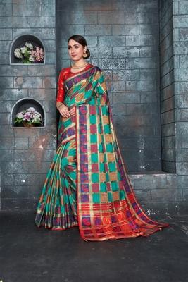 Green woven banarasi cotton saree with blouse
