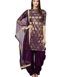 Designer purple woven jacquard semi stitched salwar with dupatta