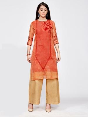 Orange printed georgette kurti