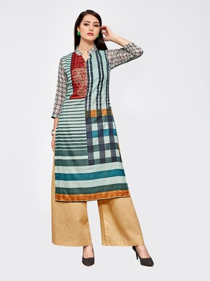 Multicolor printed silk kurti